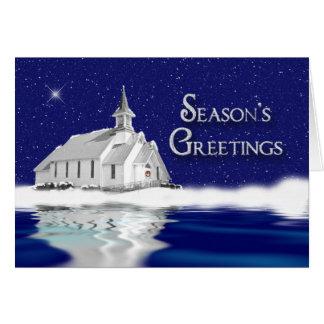 SEASON'S GREETINGS -  COUNTRY CHURCH - SNOW/BLUE GREETING CARDS