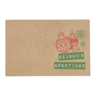 Seasons Greetings Crafty Holiday Placemat Laminated Placemat