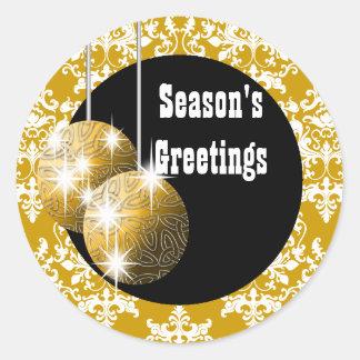 Season's Greetings elegant holiday PERSONALIZE Round Sticker