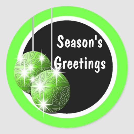 Season's Greetings elegant holiday PERSONALIZE Round Stickers