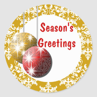 Season's Greetings elegant holiday PERSONALIZE Stickers