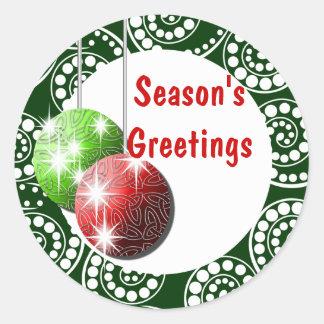 Season's Greetings elegant holiday PERSONALIZE Sticker
