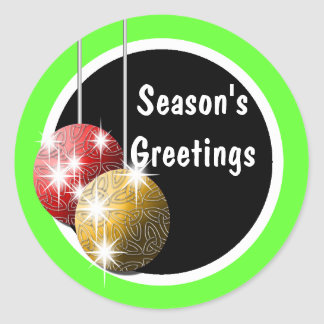 Season's Greetings elegant holiday PERSONALIZE Round Sticker
