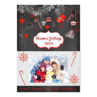 Season's Greetings Flat Happy Holidays Photo Card 11 Cm X 16 Cm Invitation Card