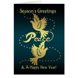 Season's Greetings Holiday Card - Gold Effect Peac