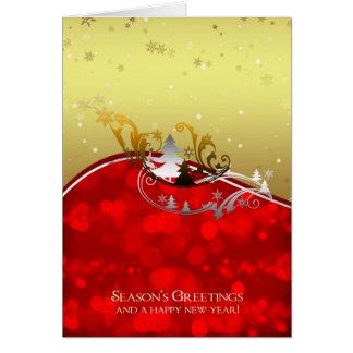 Season's Greetings Holiday Card Lights Trees