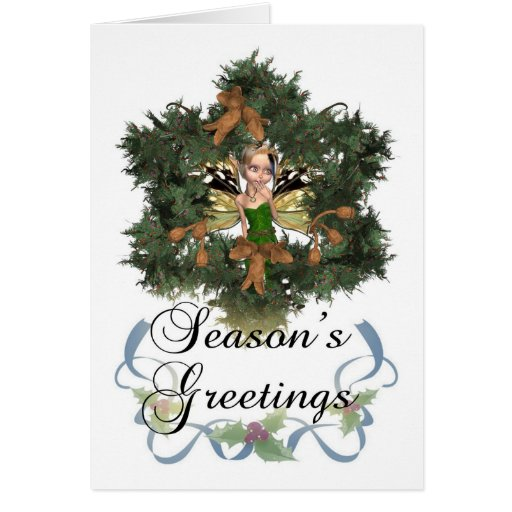 Season's Greetings, Holiday Card With Cute Fairy I