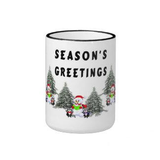 Seasons Greetings Holiday Cheer Ringer Mug