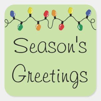 Seasons Greetings Holiday Lights Square Sticker