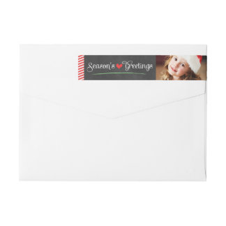 Season's Greetings Holiday Photo | Wraparound Return Address Label