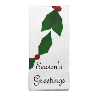 Season's Greetings Holly Holiday Napkin