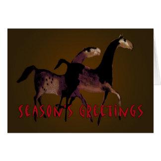 SEASON'S GREETINGS- Horses Greeting Card