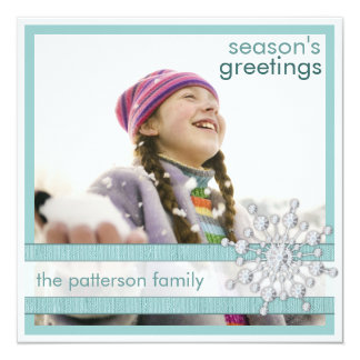 Season's Greetings in Teal Square Photo Card