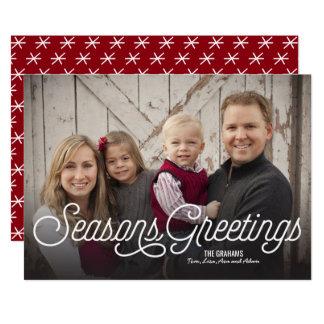 Seasons Greetings Modern Holiday Full 1-Photo 13 Cm X 18 Cm Invitation Card