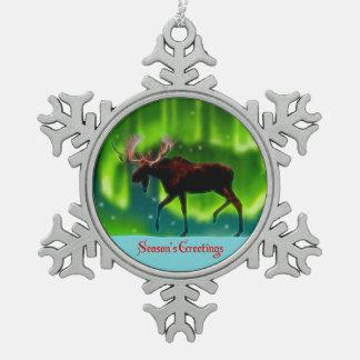 Season's Greetings - Northern Lights Moose Snowflake Pewter Christmas Ornament