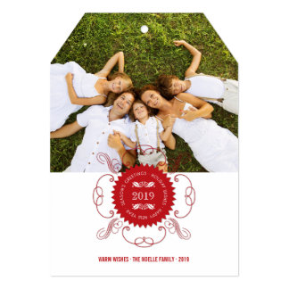 Season's Greetings Ornate Seal Holiday Photo Card 13 Cm X 18 Cm Invitation Card