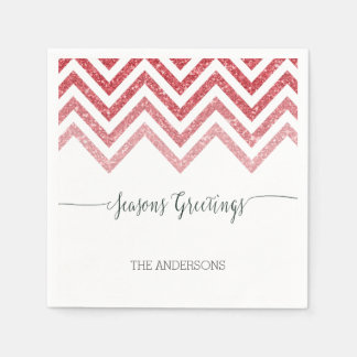 Seasons Greetings red chevron napkins Disposable Napkin