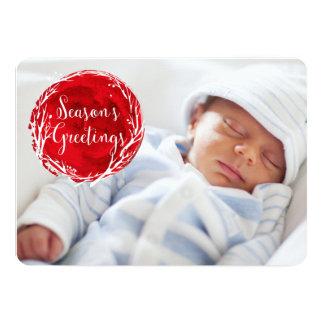 Seasons Greetings red custom photo holiday card 13 Cm X 18 Cm Invitation Card