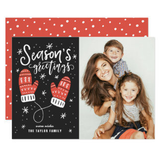 Season's Greetings Red Mittens Holiday Photo Card