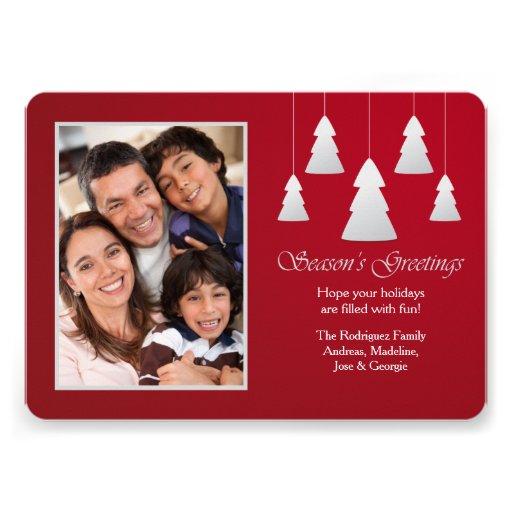Season's Greetings Red Photo Holiday Card