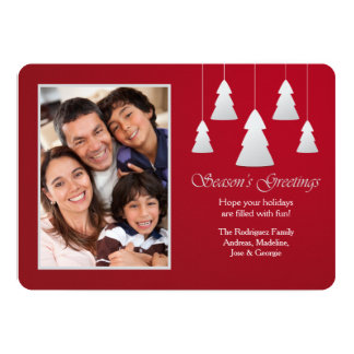 Season's Greetings Red Photo Holiday Card Custom Announcement