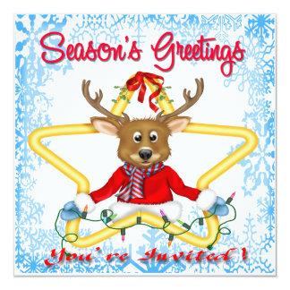 Season's Greetings Reindeer Invitations