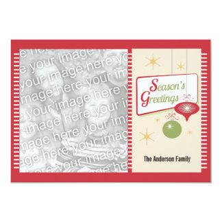 Season's Greetings Retro Style 2 Photo Christmas 13 Cm X 18 Cm Invitation Card