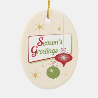 Season's Greetings Retro Style Christmas Ceramic Oval Decoration