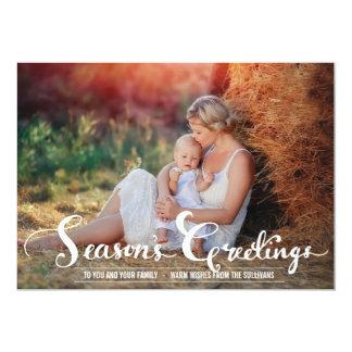 Season's Greetings Rustic Holiday Photo Card 13 Cm X 18 Cm Invitation Card