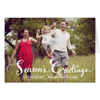 Season's Greetings Script Holiday Photo Card