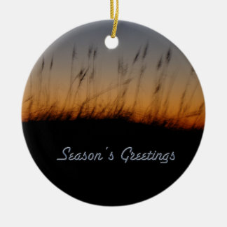 Season's Greetings Sea Oats and Dunes at Sunset Round Ceramic Decoration