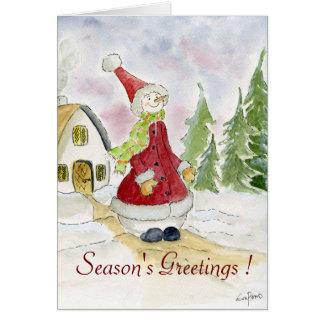 Season's Greetings - snowman Greeting Card