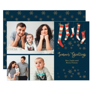 Season's Greetings Stockings Photo Holiday Card 13 Cm X 18 Cm Invitation Card