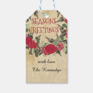 Season's Greetings Vintage Floral Wreath Holiday Gift Tags