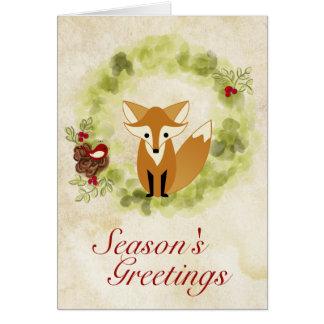 Season's Greetings Woodland Fox and Wreath Holiday Greeting Card
