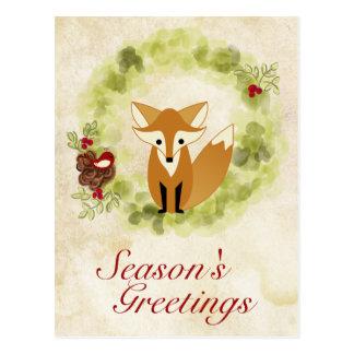 Season's Greetings Woodland Fox and Wreath Holiday Postcard
