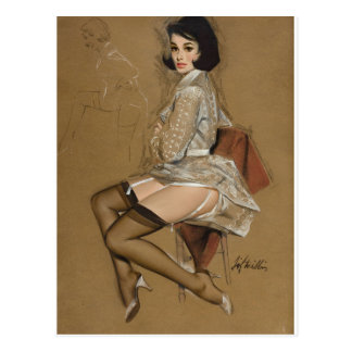 Seated Brunette Pin Up Art Postcard