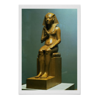 Seated statue of a pharaoh, New Kingdom (stone) Poster