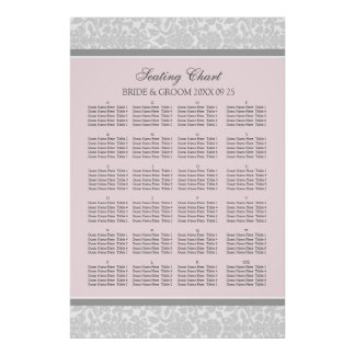 Seating Chart Alphabetical Blush Grey Damask Poster