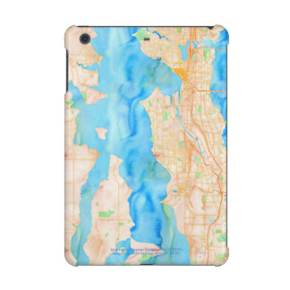Seattle and Puget Sound Watercolor Map