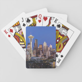 Seattle, Downtown and Mt. Rainier at Twilight Playing Cards