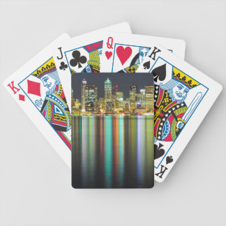 Seattle skyline at night with reflection bicycle playing cards
