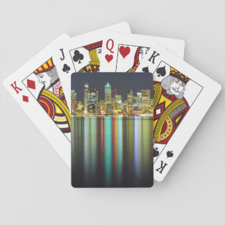 Seattle skyline at night with reflection playing cards