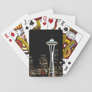 Seattle skyline at night, with Space Needle. Playing Cards