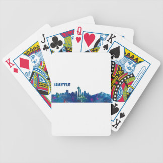 Seattle Skyline Silhouette Bicycle Playing Cards