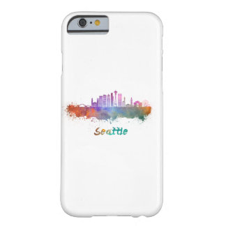 Seattle V2 skyline in watercolor Barely There iPhone 6 Case
