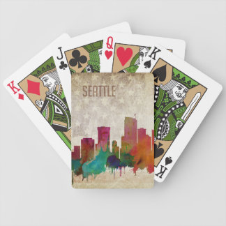 Seattle, WA | Watercolor City Skyline Bicycle Playing Cards