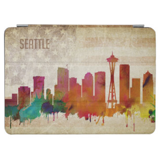 Seattle, WA | Watercolor City Skyline iPad Air Cover