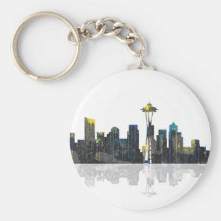Seattle Washington Skyline Basic Round Button Key Ring