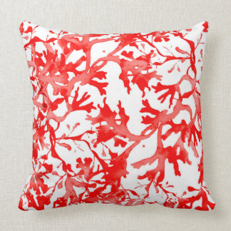 Seaweed in coral double sided throw pillow